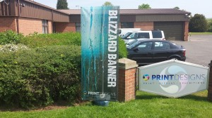 Blizzard banner stand - printed on mesh PVC