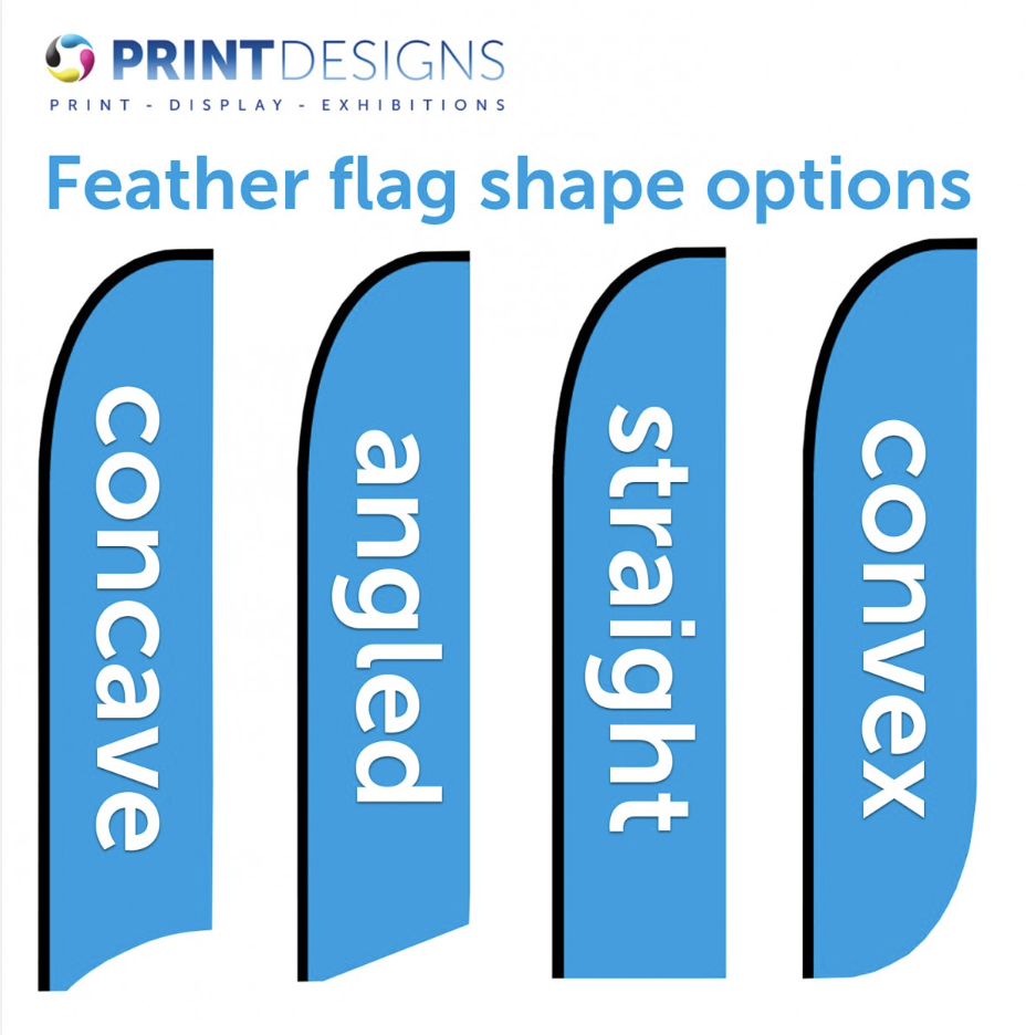 Image showing a number of options for feather flags used in blog post about promotional flags from Printdesigns