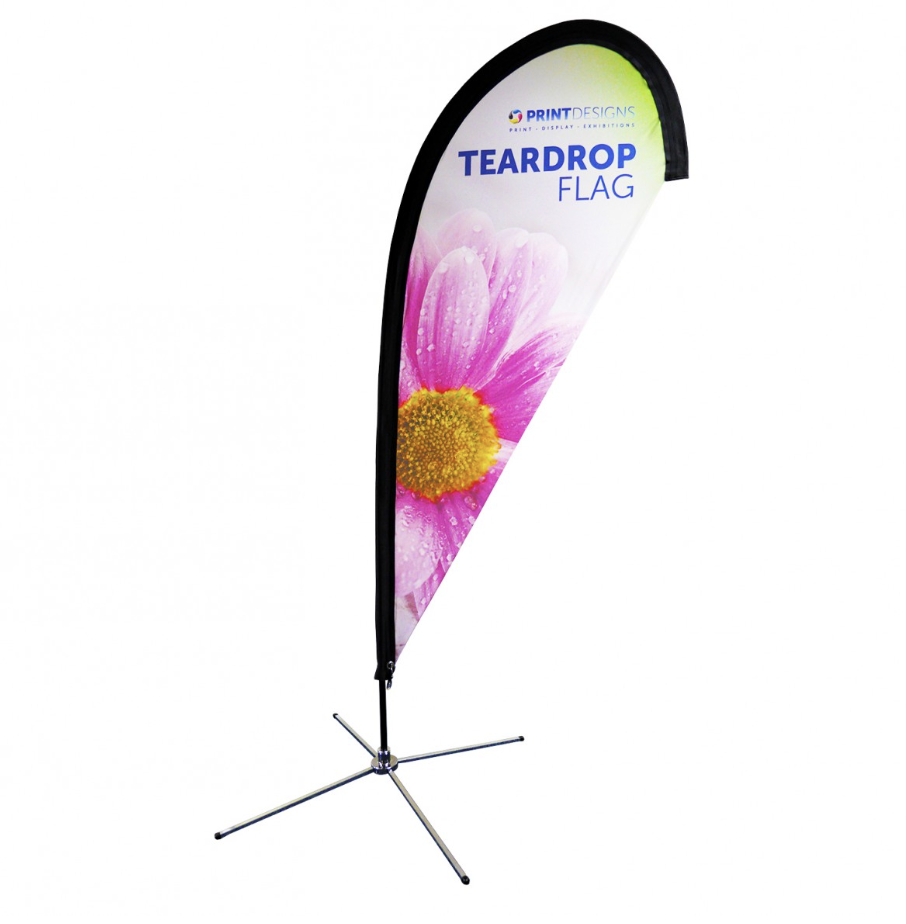 Image showing a teardrop flag used in a blog post about feather and teardrop flags by Printdesigns.com