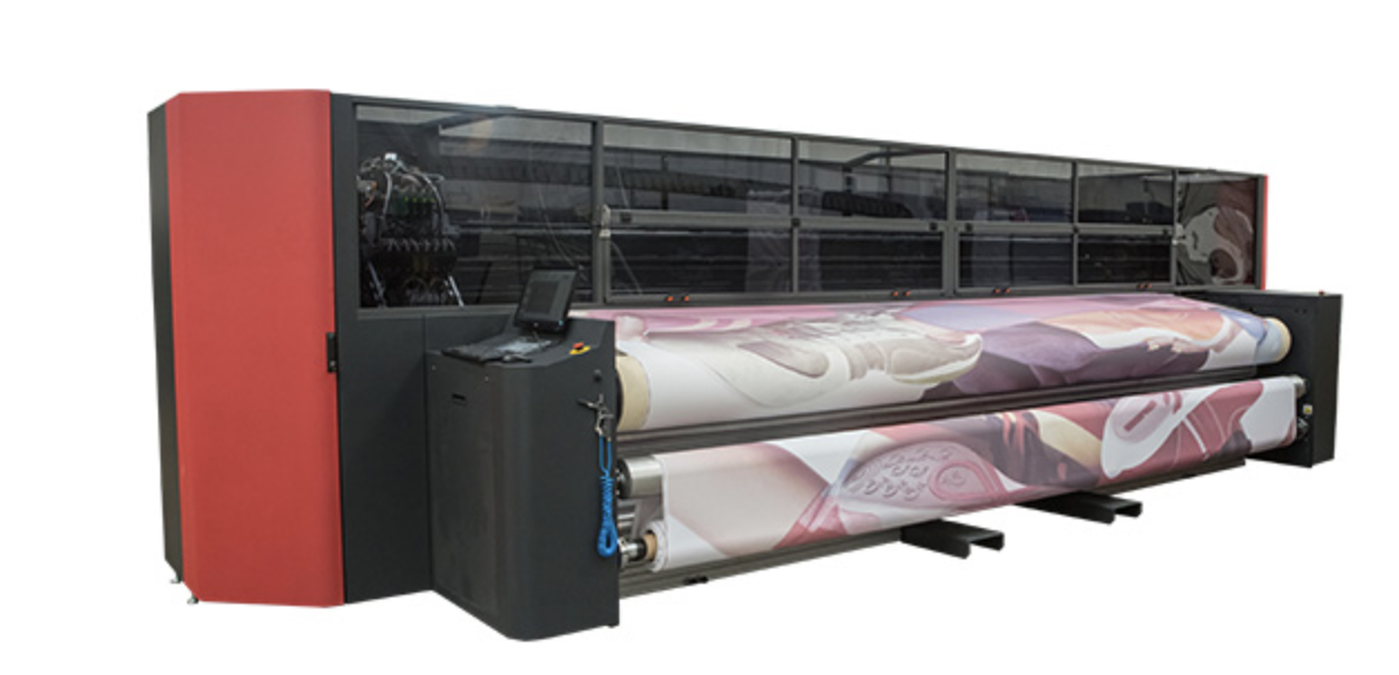 Image showing the fabrivu printer used for dye sublimation printing at Printdesigns