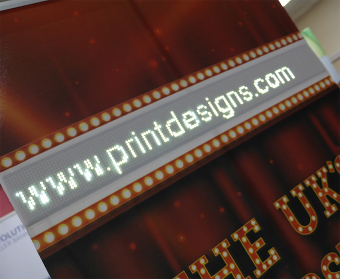 Image showing the screen on the LED Scroller Banner from Printdesigns