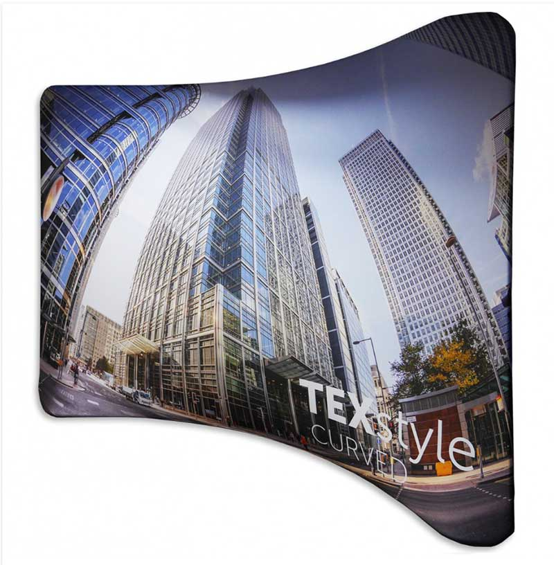 Texstyle curved fabric stand from Printdesigns