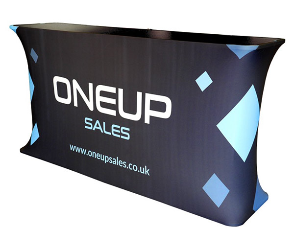 Image of a Pop Up counter used in a blog post about exhibition accessories from Printdesigns